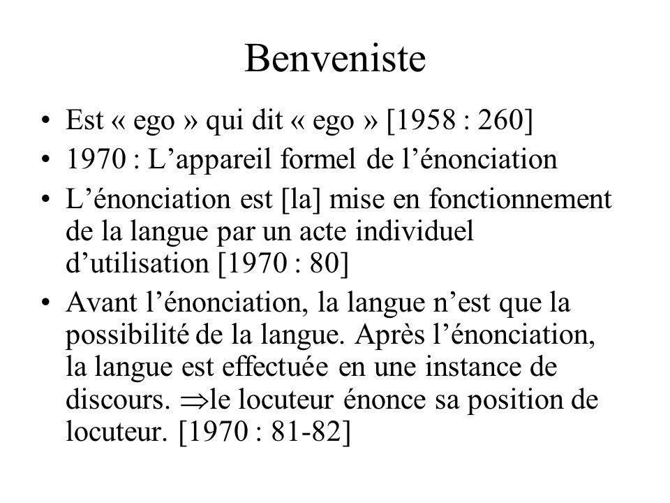 Benveniste Est « ego » qui dit « ego » [1958 : 260]